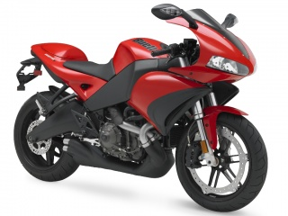 2009 Buell 1125R: Racing Red with Phantom Metallic (Black) wheels.