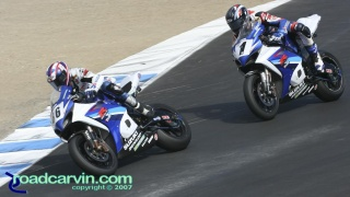 2007 Corona AMA Superbike Championship - Battle for the Championship: Mat Mladin holding off American Suzuki teammate Ben Spies in the battle for the Superbike Championship.