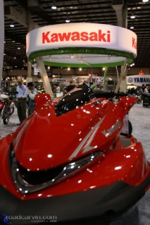 Kawasaki Personal Watercraft: Here's a long shot view of the Kawasaki floor display