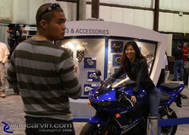 Trying one on for size at the 2007 Cycle World International Motorcycle Show in San Mateo - Yamaha R1