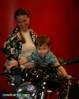 Happy Kid on a 2008 Ducati SportClassic GT: Mom's happy too!