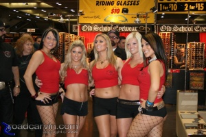 Five In A Row at the Easyriders Show: Five young ladies pose for the camera