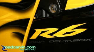 2008 Yamaha YZF-R6 Yellow - Flame Detail: Detailed photo of the 2008 Yamaha R6 with Cadmium Yellow and Flames paint. The black and yellow ghost flames look very nice.