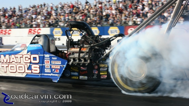 2008 Infineon NHRA - Antron Brown - Burnout Closeup