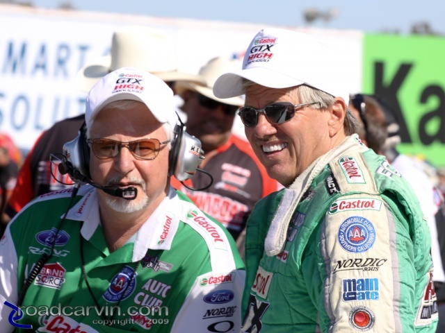 2009 Fram Autolite NHRA Nationals - Bernie Fedderly and John Force