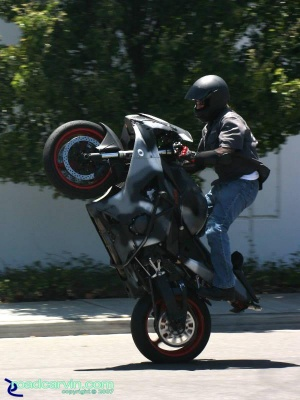 CBR954RR - Standup Wheelie: Stunt rider doing a nice standup wheelie on the rear pegs. This Honda CBR954 was setup for stunts with a large rear sprocket and crash cage.