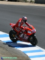 2007 Red Bull U.S. Grand Prix MotoGP - Casey Stoner: Casey Stoner taking an unorthodox line through the Corkscrew.