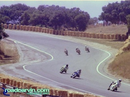 Laguna Seca - A Look Back - Corkscrew Bottom Then: Bottom of the Corkscrew at Laguna Seca Raceway in 1983. Too bad they moved the pedestrian bridge to the the new location.