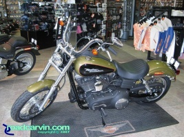 2007 Harley Davidson FXDB Dyna Street Bob in the new color Olive Pearl.