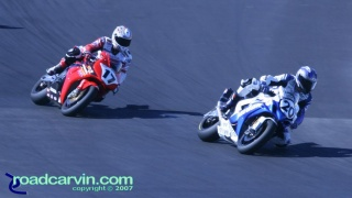 2007 Red Bull U.S. Grand Prix - AMA Superbike - Duhamel Chasing Yates: Miguel Duhamel chasing Aaron Yates in a fight for 3rd place.