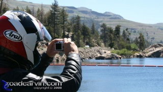 Caples Lake - Photo: I caught Dwight taking a photograph of Caples Lake with his Canon S80 with the SportBikeCam mount attached.