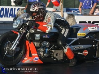 Eddie Krawiec - Concentration: Ready to launch his Vance & Hines Screamin' Eagle Harley-Davidson Pro Stock Motorcycle.