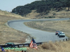 Laguna Seca - A Look Back - Exit Turn 7 Then: Here we see the exit of turn 7 and entrance to turn 8 at Laguna Seca Raceway.