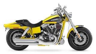 2009 Harley-Davidson - FXDFSE CVO Fat Bob: 2009 Harley-Davidson FXDFSE CVO Fat Bob in Sunrise Yellow Pearl with Platinum Quartz.