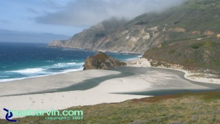 Highway 1 - Favorite View: This beautiful beach with Highway 1 and the mountains above is one of my favorite views. I always stop here to checkout the beach and how the surf has displaced the sand.