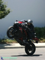 GSXR-1000 - Wheelie (I): Good looking Suzuki GSXR-1000 doing a wheelie. Always look where you want to go!