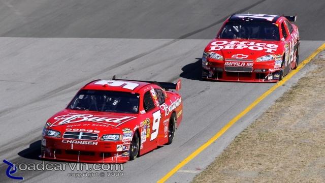 2009 NASCAR - Infineon Raceway - Kahne and Stewart Turn 4