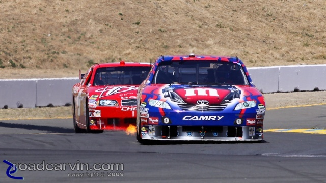2009 NASCAR - Infineon Raceway - Kyle Busch - Flames