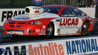 2008 Infineon NHRA - Larry Morgan - Pro Stock: Larry Morgan launching his Lucas Oils Mopar Pro Stock.