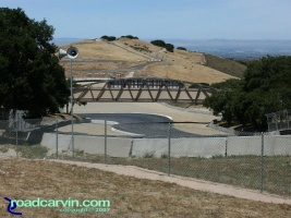 Laguna Seca - A Look Back - Looking Down the Corkscrew Now: The current view of the Corkscrew at Mazda Laguna Seca Raceway shows the safety improvements including more runoff area and gravel traps.