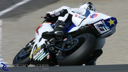 Mat Mladin -- Typical View: This is the only view of Mat Mladin's Rockstar/Makita/American Suzuki GSX-R1000 most riders get to see .