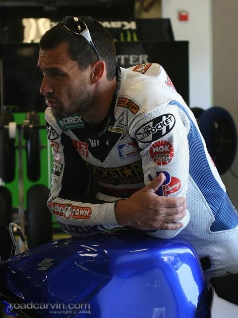 2008 AMA Test Day @ Laguna Seca - In the Garage with Mat Mladin