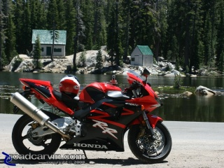 CBR954RR and Mosquito Lake Cabins: Two rustic cabins on Mosquito Lake make a nice backdrop for bike photos.