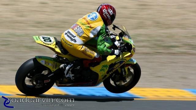 2009 Infineon AMA - American Superbike - Neil Hodgson Turn 4 Wheelie