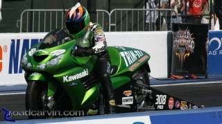 Ryan Schnitz: Ryan Schnitz staging his Trim-Tex/Team  Muzzy Kawasaki ZX14.
