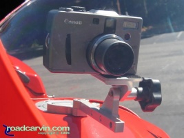 SportBikeCam Front Camera Mount - Canon G1 Front: Front view of SportBikeCam mount with Canon G1 Camera.