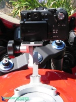 SportBikeCam Front Camera Mount - Canon G1 Rear: Rear view of Canon G1 camera mounted on a SportBikeCam mount with the riser kit.