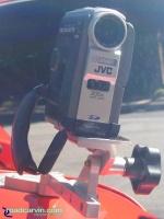SportBikeCam Front Camera Mount - JVC GR-DVM76U Front: Front view of SportBikeCam mount with JVC Digital video camera.