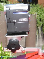 SportBikeCam Front Mount - JVC GR-DVM76U Side: Side view of SportBikeCam with JVC Digital video camera mounted.