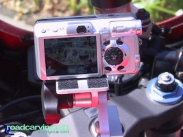 Canon S80 Mounted on SportBikeCam Mount: Canon S80 digital camera mounted to a SportBikeCam mount with optional camera riser kit.