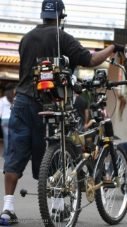 Tricked out bicycle: Now this is one trick ride. Check out the accessories...