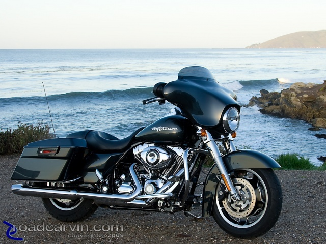 2009 Harley-Davidson FLHX Street Glide and the Pacific Ocean,