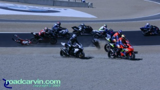 2007 Red Bull U.S. Grand Prix - AMA Superbike Start - Crash: Crash at the start of the AMA Superbike race.