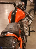 Supercharged V-Twin Rear: Rear view of supercharged River Rat Customs motorcycle.