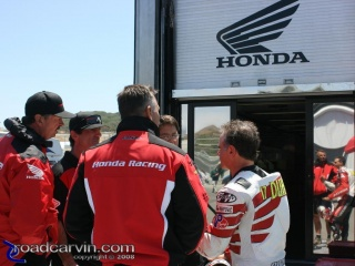 Miguel Duhamel and American Honda Team: Wouldn't you like to know what they were saying...
