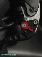 CRG Brake Lever - detail: Detail of the CRG brake lever installed on a Honda CBR954RR.