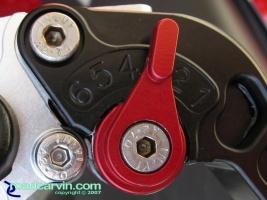 CRG Brake Lever - Closeup Roll-A-Click: Closeup showing the Roll-A-Click adjuster on the brake lever.