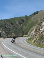 Harley-Davidson Street Rod on Highway 1: Rider enjoying his new Harley-Davidson Street Rod on Highway 1 south of Big Sur.