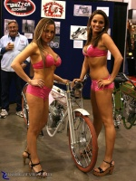 2008 Arlen Ness Bike Show - Road Rage Girls with Xcelsior: The Road Rage girls love the Xcelsior Board Track Racer.