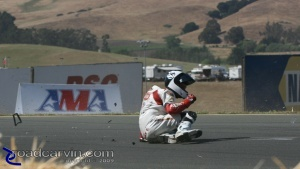 Sliding to a stop, happy to be in better shape than his Aprilia RSV1000.