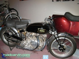 1948 Vincent HRD: This beautiful 1948 Vincent HRD is part of the Otis Chandler Gallery at the Petersen Museum.