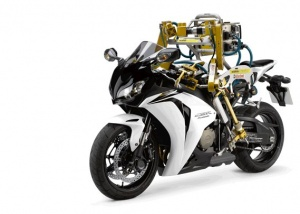 Flossie, the Castrol robotic motorcycle 'rider'...: Photo courtesy of and copyright by  Castrol