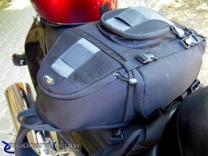 Packed and ready to go: Access flap retention strap latched and zippers tucked up behind