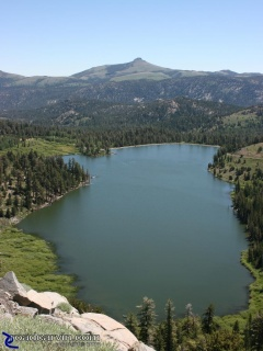 Red Lake: After you pass Caples Lake there is a scenic turnout on the steep downhill section that provides a great view of Red Lake.