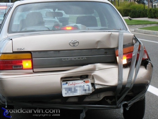 Duct Tape Use Case #7,624,123 - Holding Your Car Together After A Collision